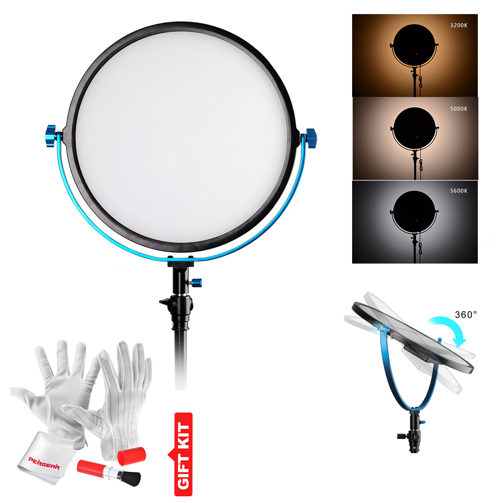 Pergear 256 Led Video Edge Light 60W Bicolor 3200K~5600K CRI 95+ 360 Degree Adjustable Round Light Baby Photography Soft Light
