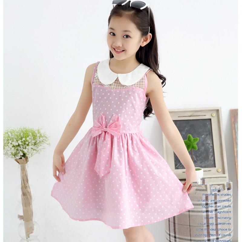 ᗖ2016 marca verano Niñas impresión del punto vestido Niñas hermosa ...
