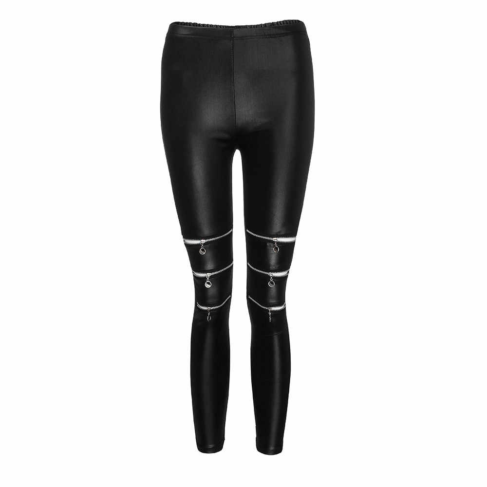 Kadın tayt 2019 moda rahat yüksek elastikiyet fermuarlar tayt spor salonu aktif Sexi deri Leggins Spodnie Damskie # JY