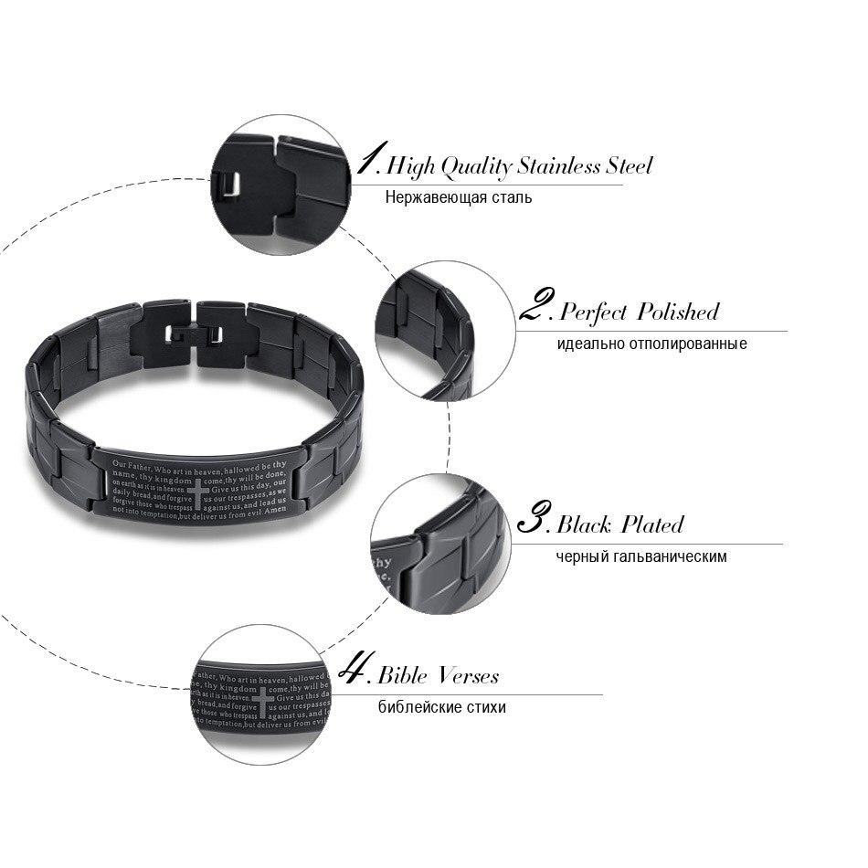 Men Bracelets Trendy Jesus Christian Lord Prayer Stainless Steel
