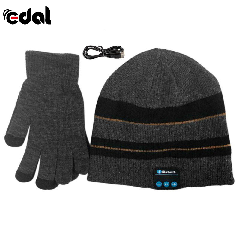 EDAL New Warm Winter Beanie Hat Wireless Bluetooth Smart Cap Headset Headphone Speaker Mic Bluetooth Hat With Gloves