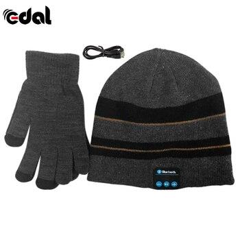 EDAL New Warm Winter Beanie Hat Wireless Bluetooth Smart Cap Headset Headphone Speaker Mic Bluetooth Hat With Gloves
