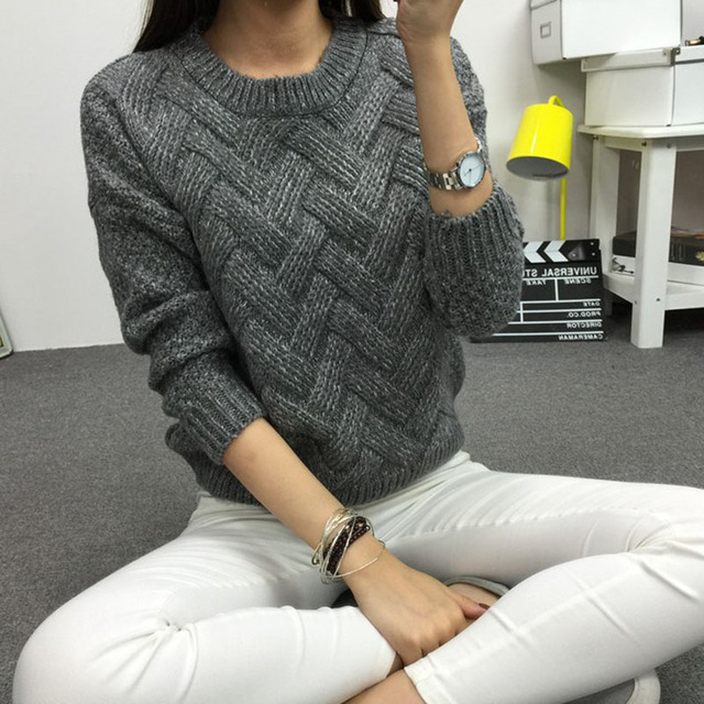 44c8b90695c2d 2018 Women Pullover Female Casual Sweater Plaid O-neck Autumn and Winter  Style Korean Plaid Thick Knit Mohair Sweater