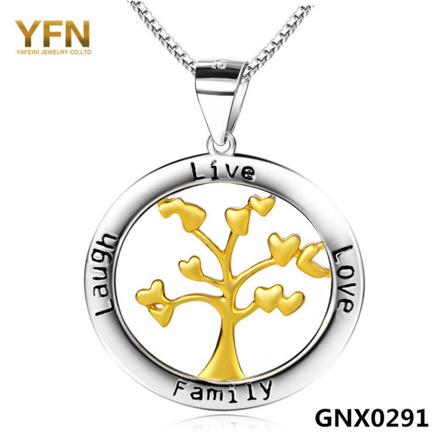 GNX0291 Genuine 925 Sterling Silver Tree of Life Necklace Fashion Jewelry Gold Family Tree Charms Necklace Christmas Gift