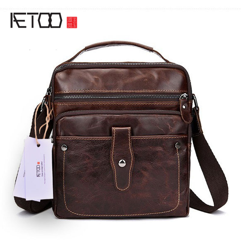 AETOO The first layer of leather oil men 's business package retro shoulder bag leather hand Messenger bag trend men bag prius brand men s casual package high end fashion 2017 new men s package shoulder bag men messenger bag shoulder bag