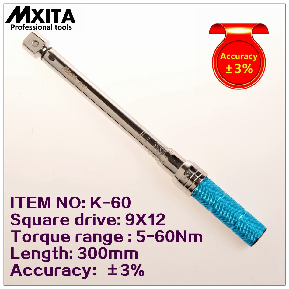 MXITA 9X12 5-60Nm Accuracy 3% High precision professional Adjustable Torque Wrench car Spanner car Bicycle repair hand tools mxita 1 2 5 60nm high precision accuracy 3% professional adjustable torque wrench car spanner car bicycle repair hand tools set