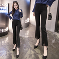 17 spring and summer of the new high-waist stretch pants lace stitching split wide leg pants pants