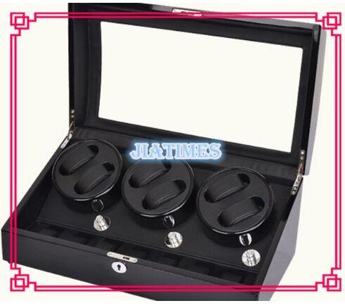 Alta Calidad 6 + 7 + Negro Negro Bobinadora Reloj De Madera caja de la Caja de Fibra de Carbono de LA PU