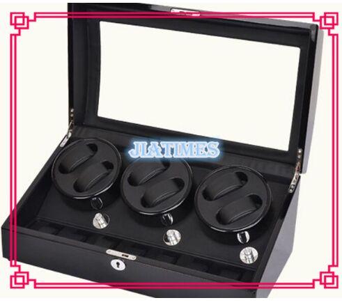 High Quality 6+7 Black+ Black Watch Winder Wood Case Box Carbon Fiber PU 4 black watch winder wood case box carbon fiber pu w led lock w key