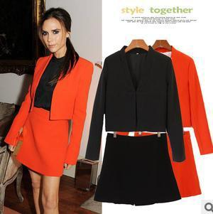 Free shipping autumn victoria beckham style OL suit   Skirts and blazer