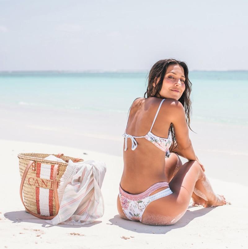 HTB1TLRDXdfvK1RjSspoq6zfNpXaT Miyouj Floral Bikini Bandage Bow Swimsuit Push Up Swimwear Women Print Biquini Feminino 2018 Bathing Suit Monokini Bikini Set