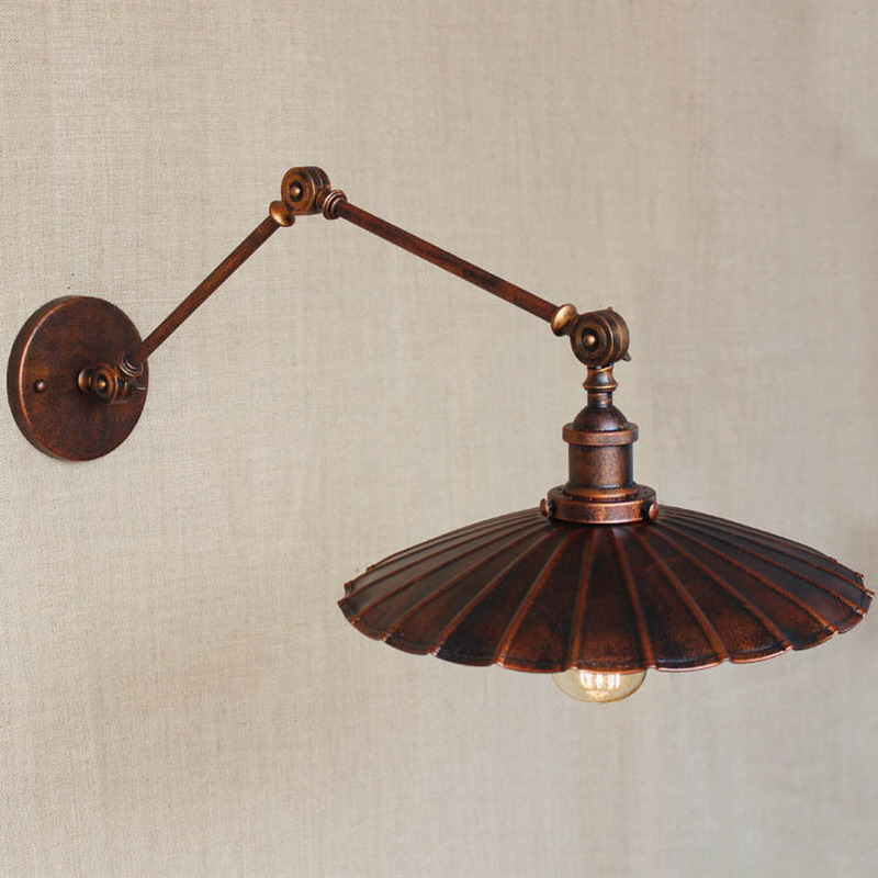 Europe industrial adjustable style antique rust wall lamp E27 swing arm wall lighting for workroom Bathroom Vanity bar cafe ...