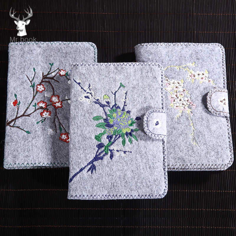 Vintage Embroidery Flower Felt Shell Notebook Diary Weekly Planner Agenda Organizer Stationery Personal Notebook Office Supplies