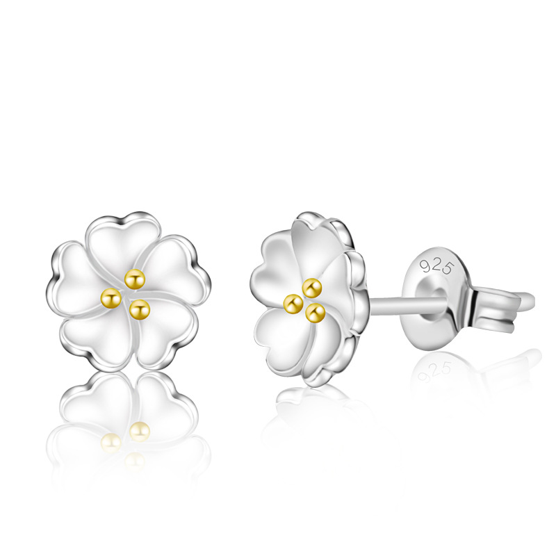 Jemmin Girls Lovely Flower Shape Earrings Party Prom Gift 925 Sterling Silver Stud Earrings for Women Pearl Earrings