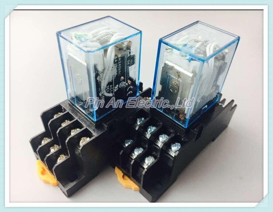 1set MY4NJ DC 12V Coil 4NO 4NC Green LED Indicator Power Relay DIN Rail 14 Pin + Base Mini relay батут nj 12 48d