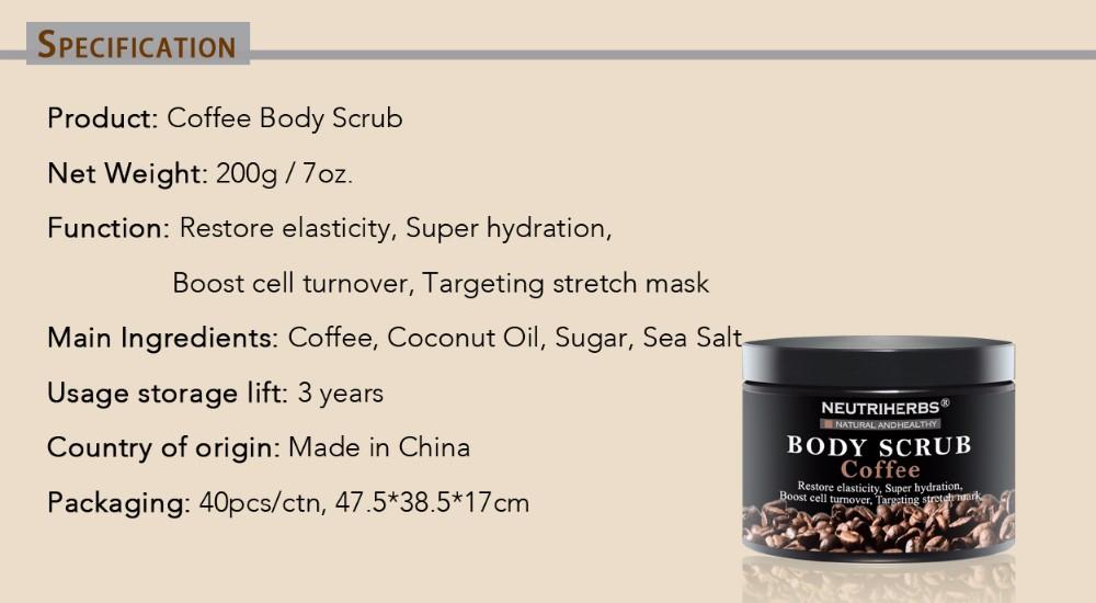 coffee body scrub-specification