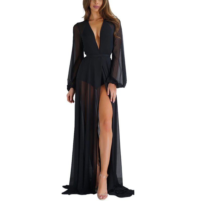 Women Black Pink Split Mesh Dress Tie Waist Maxi Beach Kimono Sexy Open Front Long Beach vestido longo Sun-protective Dresses