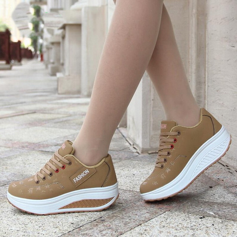 Women Casual Shoes 2018 New Spring Summer Flats Women Sport Shoes Lace-Up Platform Breathable Fashion Mixed Color Women Sneakers
