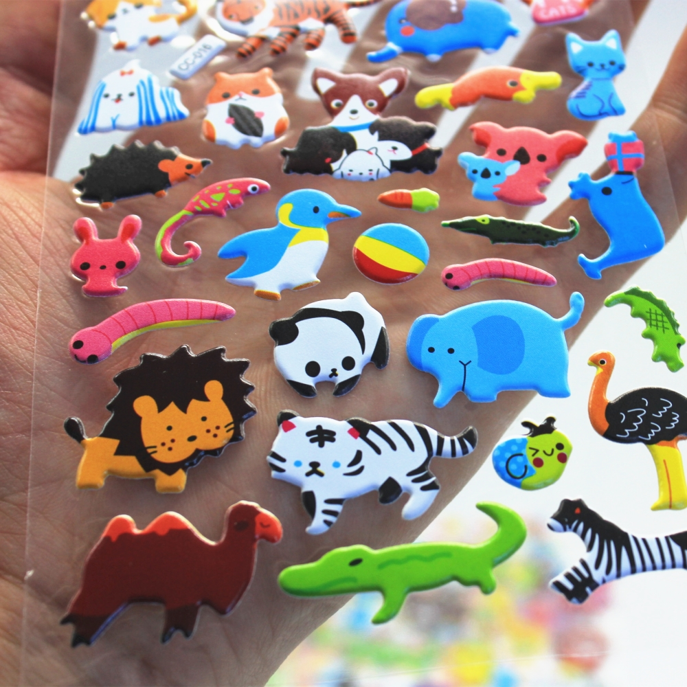 1Sheet animals Diary Decoration Stickers 3D PET bubble stickers Gift Children Toys CC 016 017