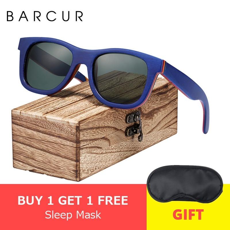 6983d2e673d83 BARCUR Skate de Madeira óculos de Sol Óculos Polarizados para  Homens WomenWood óculos de Sol