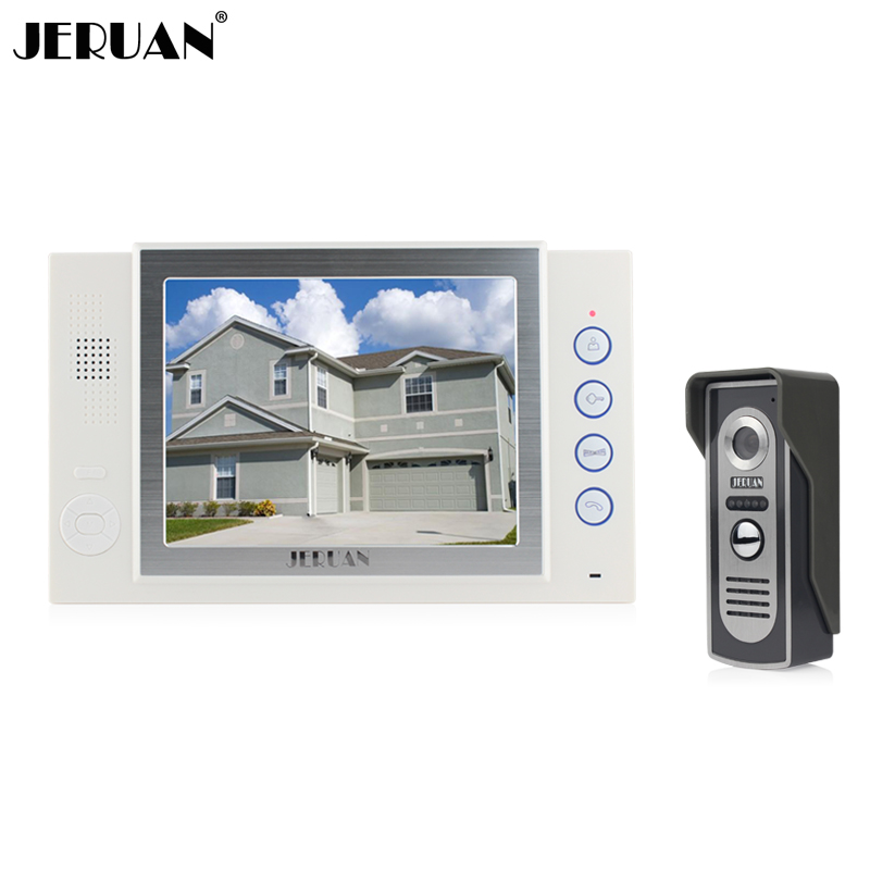 JERUAN 8 inch video door phone doorbell intercom system 700TVL COMS camera doorphone recording &photo taking jeruan 8 inch video door phone high definition mini camera metal panel with video recording and photo storage function