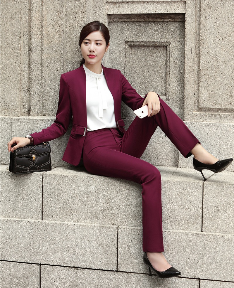 Fashion Wine Formal Uniforms Designs Professional Pantsuits With Jackets And Pants For Ladies Office Work Wear Blazers Sets 24