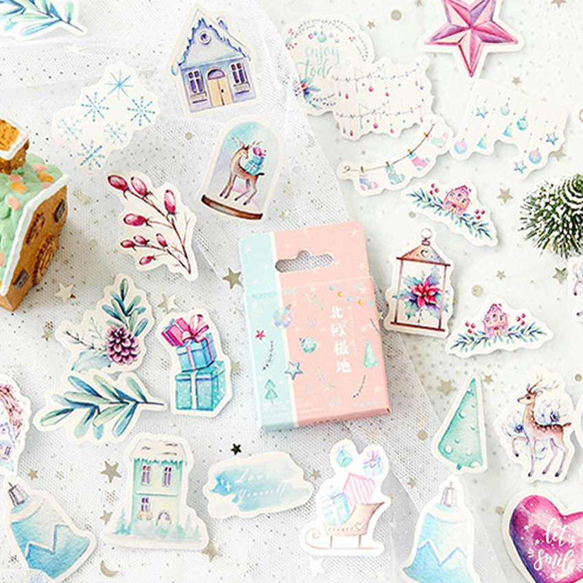 46pcs/pack Nordic polar region Sticker Bag Paper Lable Stickers Scrapbooking Decorative Sticker Pack DIY Lovely Gifts for Kids