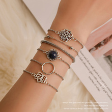 6pcs/set 2019 New Womens Bohemian Ethnic Silver Hollow Out Lotus Chains Bracelet Set Girls Simple Adjust Bangles Jewelry Gift