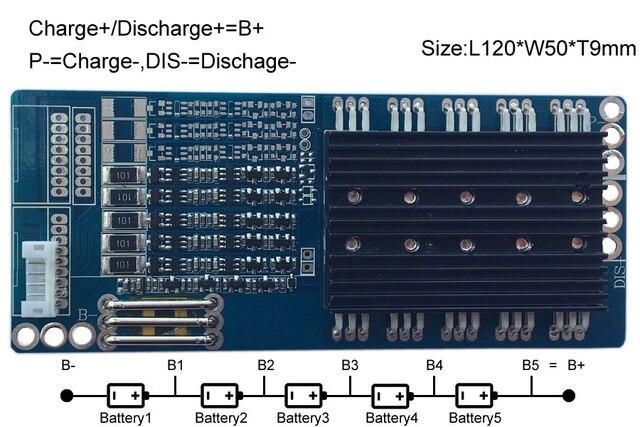 Circuito de protección 5S 30A BMS PCM PCB de protección de batería de 18 V LiFePo4 batería paquete EY1630B054A1-FB5S30A