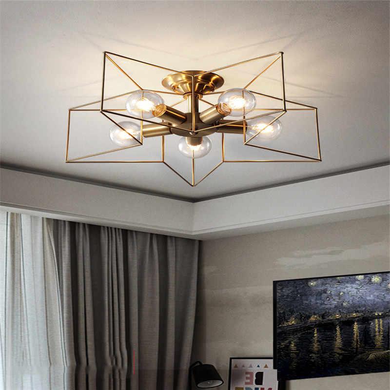 Kreative Kupfer Kronleuchter Vintage Pentagramm Lampe Techo Lampen LED  Decke Für Wohnzimmer Kinder Schlafzimmer Restaurant Licht