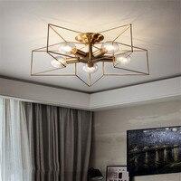creative copper chandelier vintage pentagram lamp techo lamps LED ceiling for living room children bedroom restaurant light E27