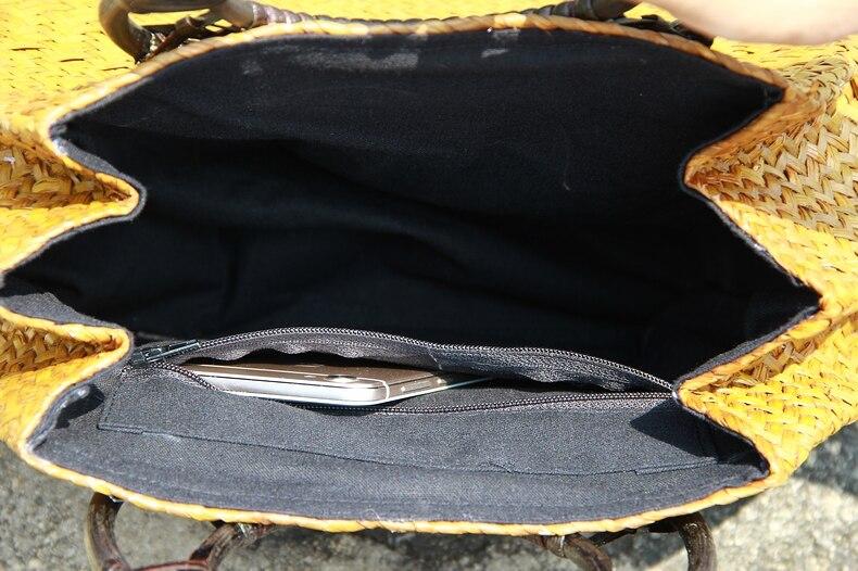 Thai version of the straw bag women's hand bag fashion retro vase vine bag travel beach bag bamboo wood handle handbag 3