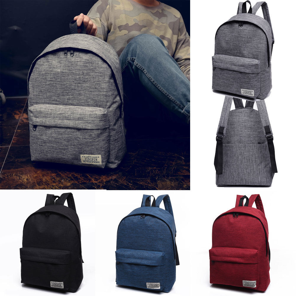 2018 New Style Fashion Casual Canvas School Bag Travel Solid Backpack Teenager 4 Colors Girls Boys new style school bags for boys