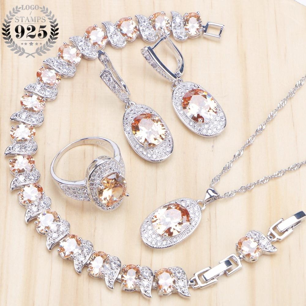 925-Jewelry-Sets Earrings Bracelet-Set Necklaces Pendants Silver Bridal Ziconia Women