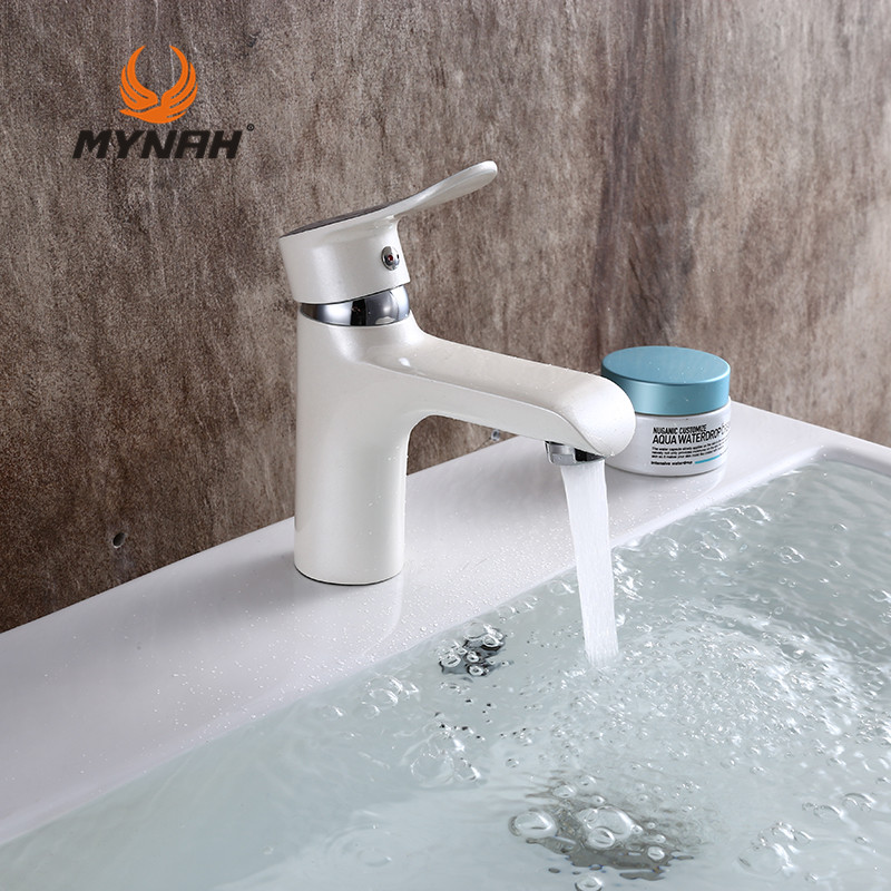 MYNAH Russia Free Shipping Classic Style Sink Basin Faucet White Bathroom Faucet Round Section Polished Single Handle M1047J