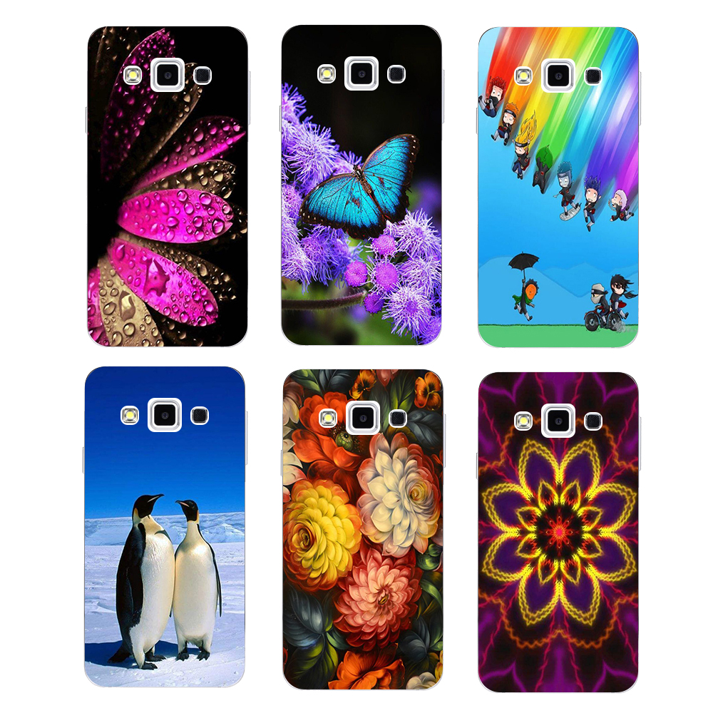 Soft Silicone Patterned Case For <font><b>Samsung</b></font> Galaxy A8 A800 <font><b>A8000</b></font> Back Cover Flower Bear Cat Dog Printed Fish Animal Phone Case image