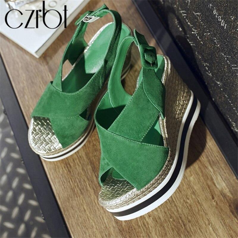 Décontracté Véritable Czrbt Mujer 2019 En Sandales Cales Femme Nouvelles De Cuir vert Chaussures Femmes Boucle Zapatos D'été Mode Noir UMSzVqp