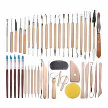 DINIWELL 45 PCS קדרות חימר פיסול כלי סטי למתחילים מקצועי אמנות מלאכות עץ ידית דוגמנות קרמיקה חימר כלים