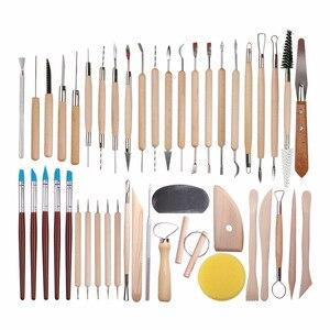 Image 1 - DINIWELL 45 sztuk ceramiki do rzeźbienia w glinie zestawy narzędzi dla początkujących profesjonalny atystyczny rzemiosło drewniany uchwyt modelowania glina ceramiczna narzędzia