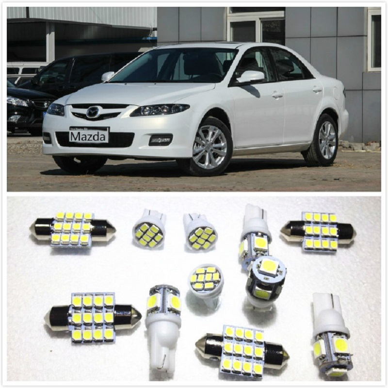 11 set White LED Lights Interior Package 10 & 31mm Map Dome For <font><b>Mazda</b></font> 6 2 <font><b>3</b></font> 3Sport 5 B4000 CX-5 CX-7 CX-9 RX-8 Tribute 1998-2019 image