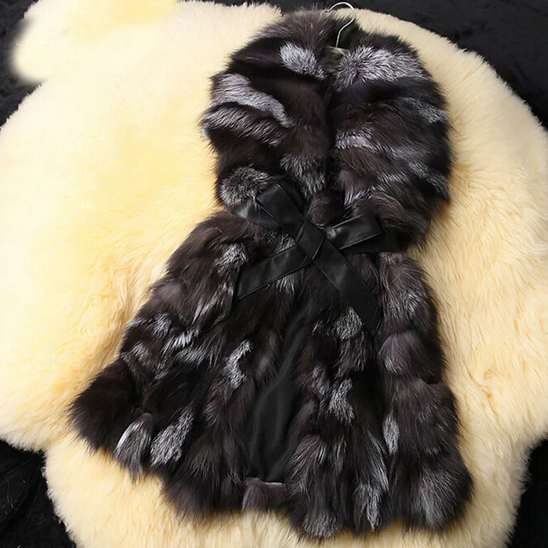 2019 Real Women Natural Fox Fur Gilet with collar Genuine Fur Vest for Ladies New Arrival