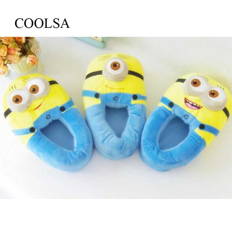 Women's Winter Home Cotton Slippers Cute Little Yellow Guy 3D Eye Plush Slippers Indoor Warm House Animal Slippers Women Slides