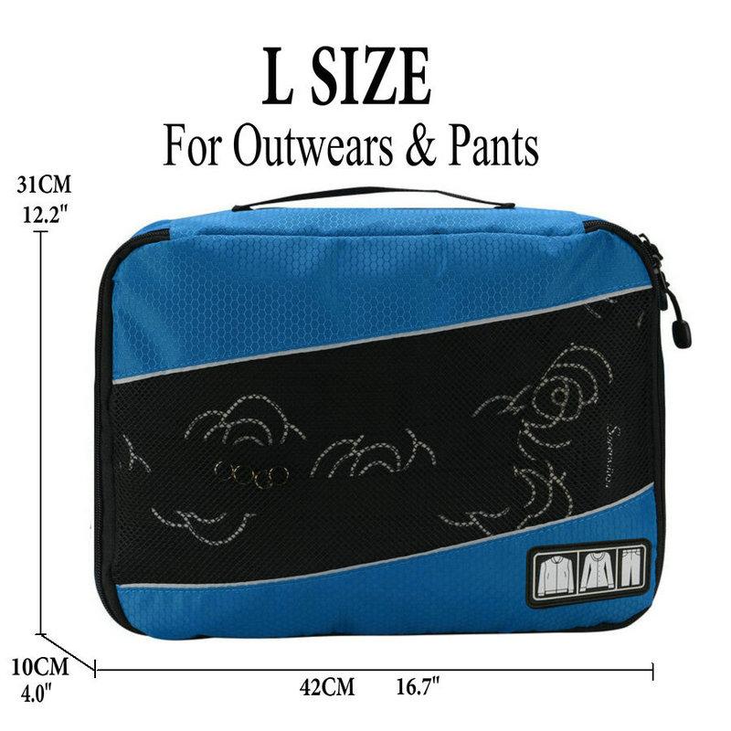 Soperwillton упаковочные кубики, нейлоновая дорожная сумка-Органайзер, Воздухопроницаемая сетчатая дорожная сумка для мужчин и женщин, органайзер для путешествий - Цвет: Blue L