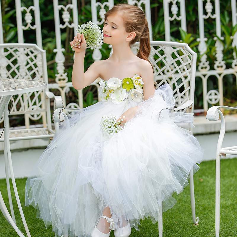 Pure Handmade White Color Flower Girl Wedding Tutu Dress Elegant Children Long Prom Baptism Party Dresses For Graduate Photos 1 design laser cut white elegant pattern west cowboy style vintage wedding invitations card kit blank paper printing invitation