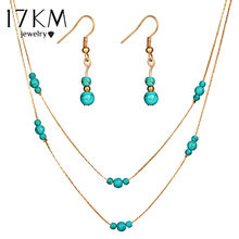 17KM 2018 Fashion Stone Beads Bridal Jewelry Sets For Women Pendant Necklace Dangle Earrings Gold Silver Statement Jewelry Gift(China)