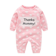 1736ba7a37e IYEAL Autumn Baby Boy Clothing 100% Cotton Long Sleeved Baby Girl Clothes  Polka Dot Thanks Mommy Printed Infant Newborn Rompers
