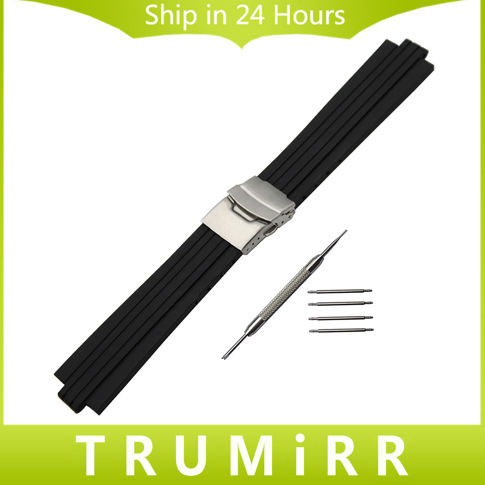 24mm x 11mm Silicone Rubber Watchband for Oris Aquis Watch Band Convex Strap Stainless Steel Safety Buckle Wrist Bracelet Black silicone rubber watchband double side wearing strap for armani ar watch band wrist bracelet black blue red 21mm 22mm 23mm 24mm