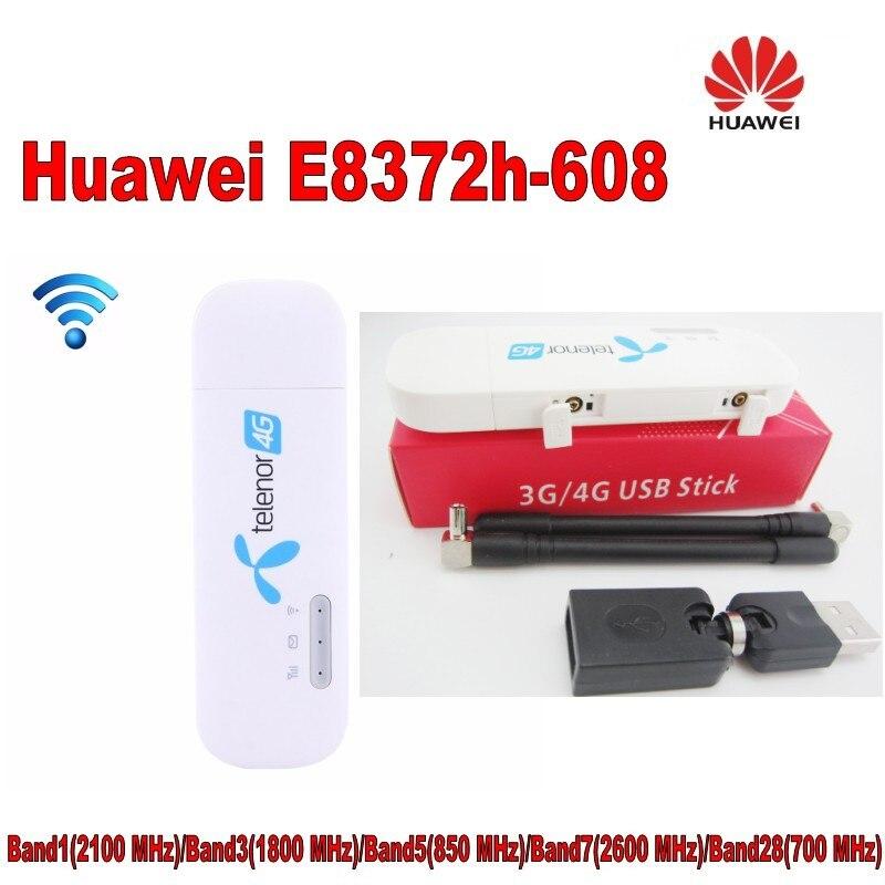 Unlocked New Huawei E8372 E8372h-608 Plus Antenne 4g LTE 150 Mbps Sans Fil USB WiFi Modem plus 2 pcs antenne et usb adaptateur