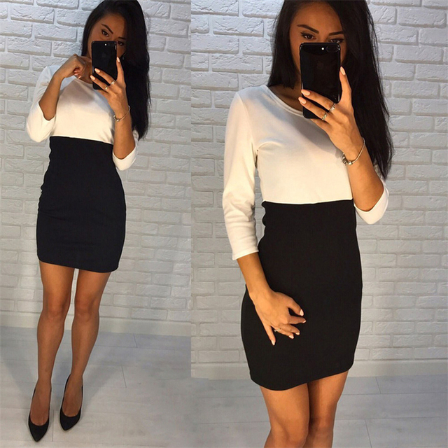 AiiaBestProducts - Autumn Summer Women Office Lady Patchwork Dresses 2