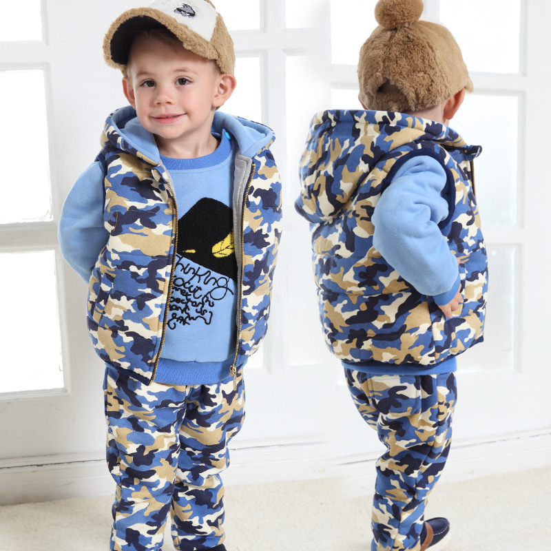 baby tracksuit thick cotton baby boy winter clothes camo set of three sports baby boy clothing. Black Bedroom Furniture Sets. Home Design Ideas